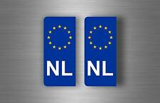 2x sticker car pair car vinyl number EU European  euro flag plate NL NETHERLANDS
