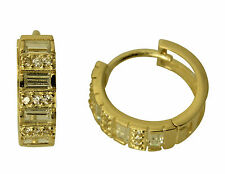 14K Yellow Gold 4mm Thick CZ Baguette and Round Hoop Huggies Earrings
