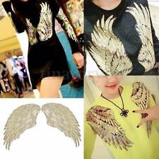 1Pair Golden Sequin Beaded Angel Wings Patch Iron on Applique Mirror Embroidery