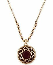 LUCKY BRAND RED STONE ANTIQUE GOLD PENDANT NECKLACE NWT