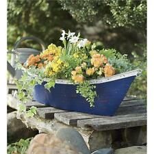 Boat Planter Box Handmade of Recycled Metal Distressed Blue Paint White Trim