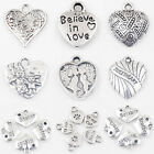 Wholesale Tibetan Silver Love Heart Beads Charms Pendants Jewelry Findings DIY