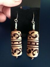 Large Tribal Pattern Earrings. Wood, Patterned  - Only one available!