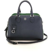 NWT Tory Burch Robinson Pebbled Triple Zip Satchel in Tory Navy/Emerald Stone