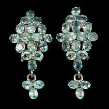 Sterling Silver 925 Large Genuine Natural Seafoam Blue Zircon Cluster Earrings