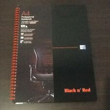 A4 BLACK N' RED RULED PROFESSIONAL NOTEBOOK. SPIRAL BOUND. 90 GSM PERFORATED