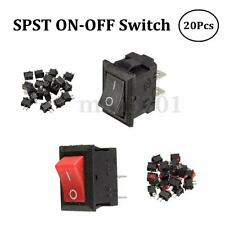 20x 250V 3A Mini Boat Rocker Switch SPST ON-OFF 2-Pin Black/Red Plastic Button
