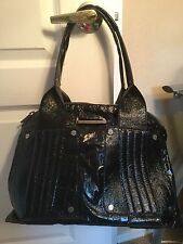 MATT & NAT Black Crackle Patent GLAZED Vegan Leather HANDBAG Hobo Tote PURSE EUC