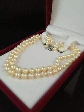 VINTAGE 14CT GOLD DOUBLE STRAND GRADUATED SATWATER PEARL COLLAR NECKLACE - 573