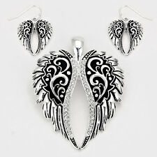 Angel Wings Pendant Earrings SET Metal Pave Rhinestone Edge SILVER Jewelry