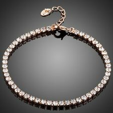 Brand New Rose Gold Plated Clear White Genuine Zircon Bracelet Bangle Jewellery