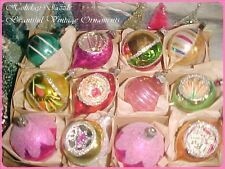 Beautiful Vintage Antique Poland Indents Pointed Tips Pink Glass Xmas Ornaments