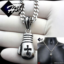 """20""""MEN Stainless Steel 4.5mm Silver Cuban Curb Necklace Boxing Glove Pendant*P75"""