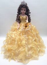 NEW Yellow Gold 20 inch 15 Anos Quinceanera Ruffle Dress Porcelain Umbrella Doll