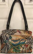 Anuschka Rose Safari Large Leather Satchel Shoulder Bag Dragonfly Butterfly