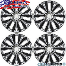 "4 NEW OEM BLACK CHROME 15"" HUB CAPS FOR NISSAN VERSA CAR CENTER WHEEL COVERS SET"