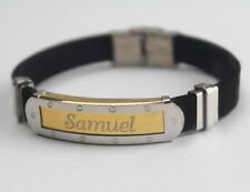 SAMUEL - Bracelet With Name - Mens Silicone & Gold Tone Engraved - Gift For Him