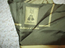 BURBERRYS OF LONDON VINTAGE OLIVE GREEN & GOLD LOGO SILK SCARF RARE & BEAUTIFUL!