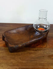 Teak Shallow Bowl T-Light Holder W/Glass 08,Wooden Carvings,Wood,Wooden Statues