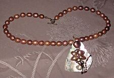Vintage Genuine Baroque Chocolate Pearl Strand w Artisan MOP Pendant Necklace