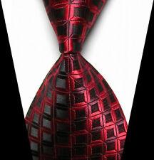 New Classic Red&Black Plaids WOVEN JACQUARD Silk Men's Suits Tie Necktie
