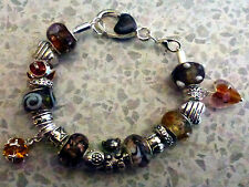 *Handmade Bronze Luxury Chunky Murano Glass Bead Charm Bracelet - Great Gift**