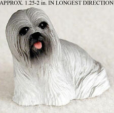Lhasa Apso Mini Resin Dog Figurine Statue Hand Painted Gray