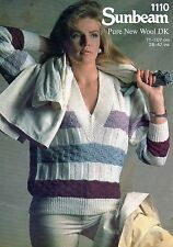 ~ Sunbeam Knitting Pattern For Lady's Banded V-Neck Sweater ~