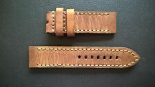 VINTAGE WATCH STRAP/BAND-HONEY AMMO DISTRESSED LEATHER-PAM-PANERAI HANDMADE 22mm