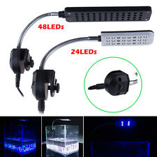 24 LEDs Aquarium Light Flexible Arm Clip On Fish Tank Lighting In 3Modes UK Plug