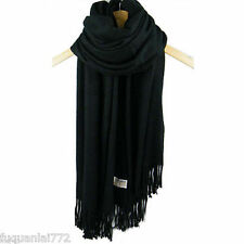 New Unisex's Winter Warm Pashmina Soft Long Wrap Shawl Pure Black Scarf Stole