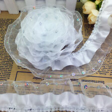 NEW 3 Yards 3-Layer 45mm White Organza Lace Gathered Pleated Sequined Trim 016#