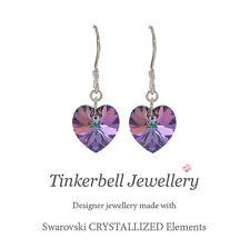 925 Sterling Silver Drop Earrings w Swarovski Elements Crystal VL Purple Heart