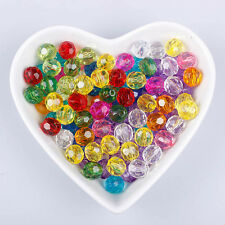 100Pcs 6mm Mixed Colors Faceted Glass Crystal Loose Bicone Spacer Charms Bead