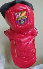 Dog Puppy Coat Red Quilted Wet Look Red Pet Baby 10 in back Length fur trim hood