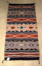 "Hand Woven Wool Throw Rug Southwestern Western 32""x 64"" Tapestry #363"