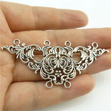 14056*5PCS Large Alloy Vintage Silver Tone Flower Connector Pendant Charms