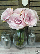 Bunch of 7 Vintage Pale Lilac Artificial English Roses, Realistic Silk Flowers