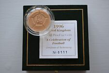 1996 Royal Mint £2 Two Pounds 15.98g Football Proof Gold Coin Box COA
