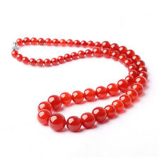 6-14mm Red Jade Round Gemstone Tower Beads 18KWGP Clasp Necklace