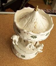 "porcelain 3 horse carousel merry-go-round music box jingle bells 10"" tall xmas"