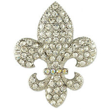 CLEAR CRYSTAL RHODIUM PLATE FLEUR DE LYS BROOCH PIN MADE WITH SWAROVSKI ELEMENTS