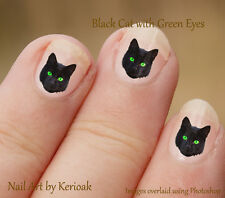 Black Cat  with Green Eyes 24 Unique Designer Nail Art Stickers Decals