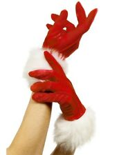 Sexy Smiffy's Christmas Red Velvet Ladies Santa Wrist Length Gloves w Fur Trim