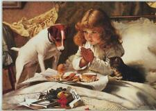 VINTAGE VICTORIAN CHILD GIRL TEA CUP SAUCER EGG BREAKFAST CAT DOG NOTECARD PRINT