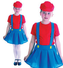 Childrens Kids Plumber Girl Fancy Dress Costume Mario Brothers Childs Outfit L