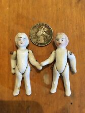 1800's Vintage ANTIQUE Bisque MINIATURE GERMAN JOINTED Porcelain China DOLL Pair
