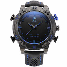SHARK Mens Military Blue Leather LED Digital Date Day Quartz Fashion Sport Watch
