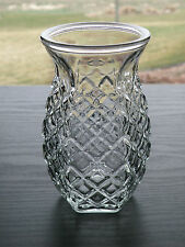 "Vintage Diamond Pattern 5 1/2"" Bulb Forcing Floral Vase Hexagon Shape Round Top"