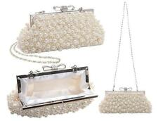 Vintage Pearl Bow Evening Clutch Bag Handbags Wedding Ivory White